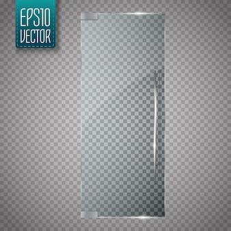 Portas de vidro isoladas em transparente.