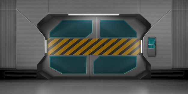 Portas deslizantes de metal no corredor da nave espacial