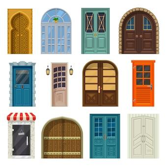 Portas e frentes de entrada de casa, desenho animado. portões de madeira da casa ou do castelo, vintage medieval, portas antigas e modernas de loja, palácio árabe e adegas ou apartamentos planos, conjunto de portas fechadas