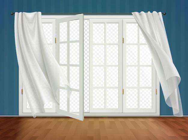 Portas francesas abertas com cortinas brancas