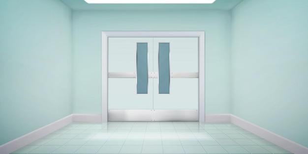 Portas na cozinha do laboratório, hospital ou corredor da escola, interior vazio com porta dupla de metal