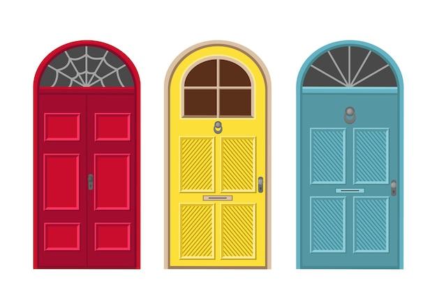 Portas vermelhas, amarelas e azuis. ilustração dos desenhos animados.