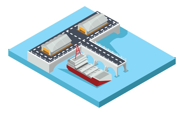 Porto isométrico de mercadorias, ilustração vetorial
