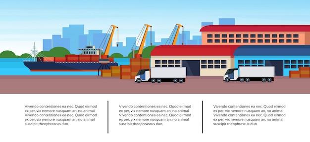 Porto marítimo industrial frete navio carga semi caminhão negócios infográfico modelo carregando armazém