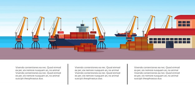 Porto marítimo industrial frete navio modelo de infográfico de negócios de logística de guindaste de carga