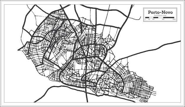 Porto novo benin city map iin preto e branco