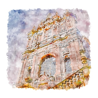 Porto portugal esboço em aquarela desenhado à mão