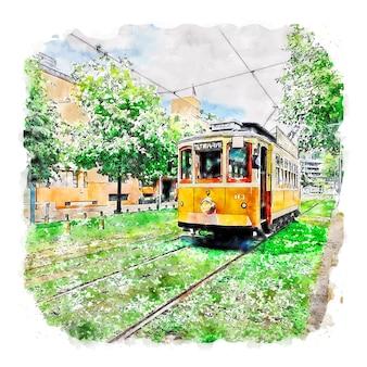 Porto portugal esboço em aquarela ilustração desenhada à mão