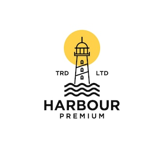 Porto premium com a lua no design do logotipo preto do vetor do oceano