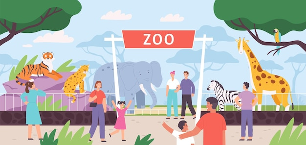 Portões de entrada planos do zoológico com família de visitantes e crianças. parque de safári dos desenhos animados com pessoas e animais da savana africana em gaiolas de paisagem de vetor. fauna selvagem de zebras, girafas e elefantes