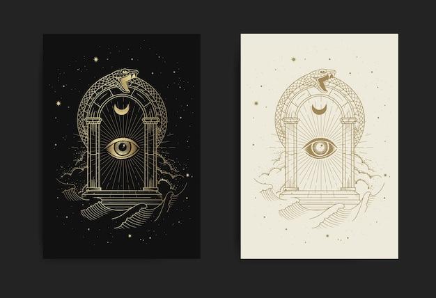Portões do universo com olho de deus e ornamento de cobra com gravura, desenho à mão, luxo, esotérico, boho, estilo mágico, adequado para paranormal, leitor de tarô, astrólogo ou tatuagem