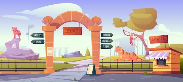 Portões do zoológico com ponteiros para macacos, crocodilos e tigres em jaulas de animais selvagens
