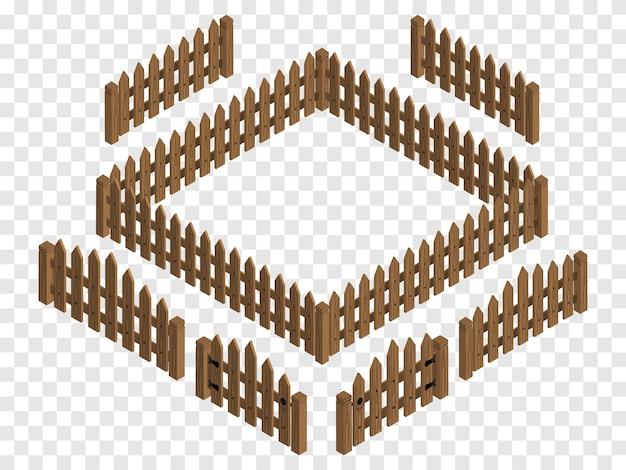 Portões e cercas isométricas de madeira.