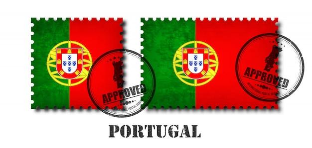 Portugal ou selo de padrão de bandeira portuguesa