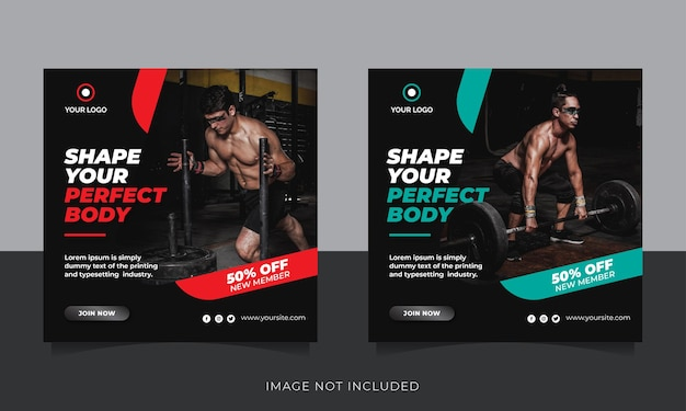 Pós-banner de mídia social de ginástica e fitness