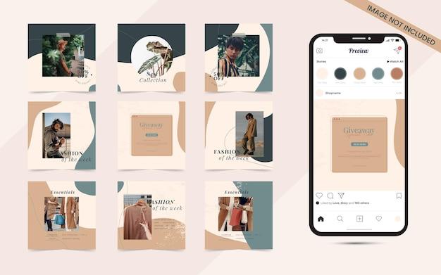 Pós-banner de mídia social para promoção de venda de moda quebra-cabeça com moldura quadrada no instagram e facebook