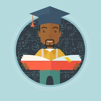 Pós-graduação com livro nas mãos