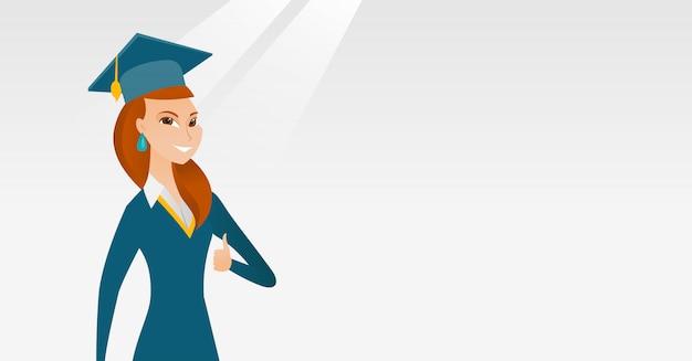 Pós-graduação dando o polegar para cima de ilustração vetorial.