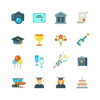 Pós-graduação, estudante festa faculdade formatura ícones lisos