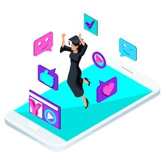 Pós-graduação menina, pulando é feliz, roupas acadêmicas, diploma, manto, atira em blog de vídeo, smileys, gostos, smartphone, um laptop