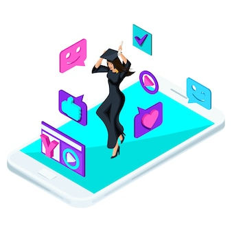 Pós-graduação menina, pulando é feliz, roupas acadêmicas, diploma, manto, blog, vídeo, smileys, gostos, smartphone