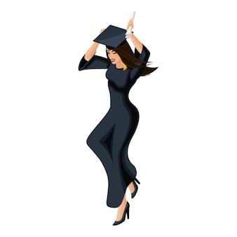 Pós-graduação menina, pulando se alegra, vestuário acadêmico, diploma, manto, boné acadêmico, cerimônia de graduação na universidade