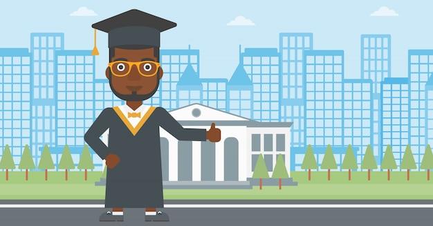Pós-graduação mostrando o polegar para cima o sinal.
