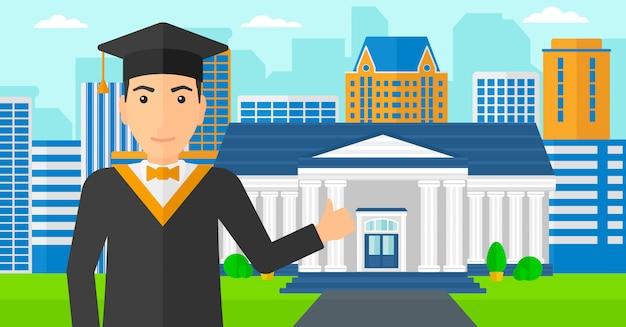 Pós-graduação mostrando o polegar para cima o sinal