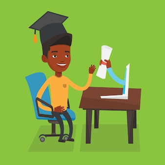Pós-graduação obtendo diploma do computador.