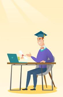 Pós-graduação recebendo diploma do computador.