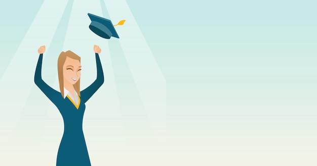 Pós-graduação vomitando chapéu de formatura.
