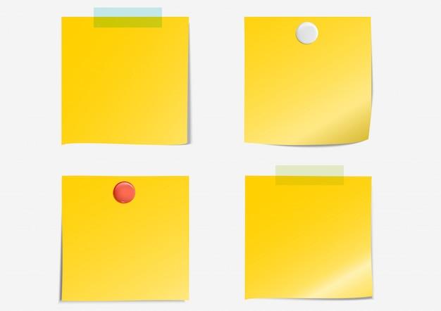 Pós nota fita adesiva de papel amarelo escuro