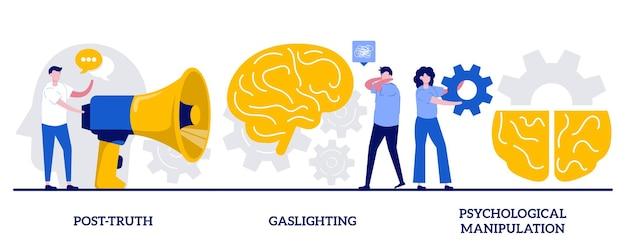 Pós-verdade, iluminação a gás, conceito de manipulação psicológica com pessoas minúsculas. conjunto de ilustração vetorial abstrato de engenharia social. chantagem emocional, abuso mental, metáfora perdida.