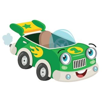 Posando de carro de corrida verde engraçado