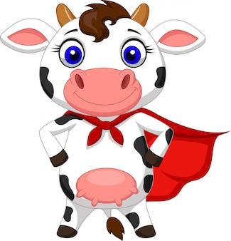 Posando de desenhos animados de vaca super-herói