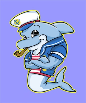 Posando de mascote de golfinho marinheiro