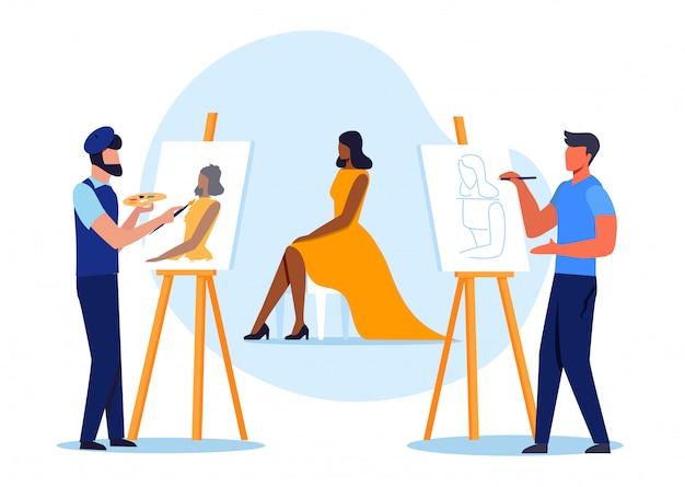 Posando modelo para ilustração em vetor plana de pintores