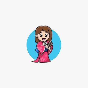 Pose bonita da mulher bonita com logotipo da ilustração do quimono.