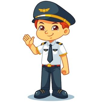 Pose de boas-vindas amigáveis do menino piloto.