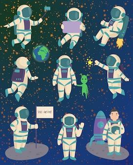 Pose de caractere de astronauta vector.