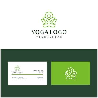 Pose de ioga logotipo e cartão de flor de lótus