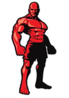 Pose de lutador em pé