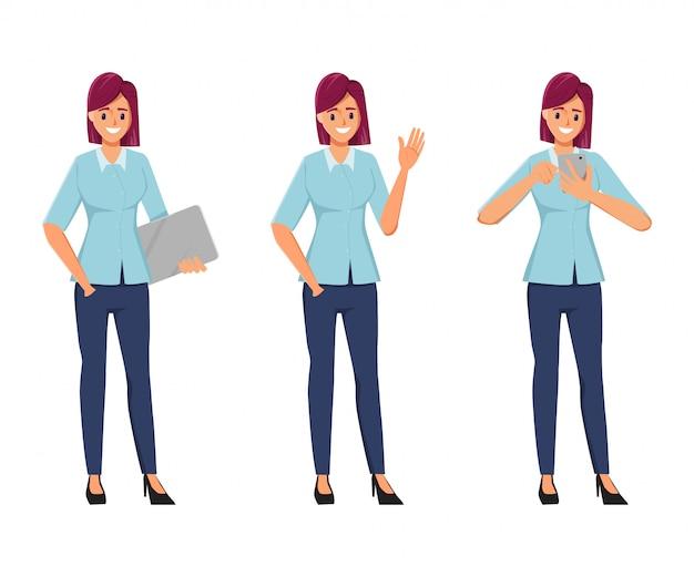 Pose de mulher de escritório personagem definida no personagem de criação de emprego freelance