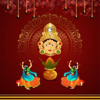 Pose de noite de dança dandiya de navratri