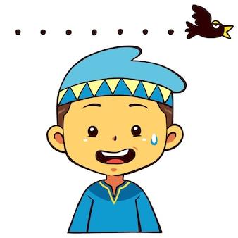 Pose de personagem de menino muçulmano inábil.