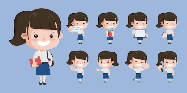 Pose de personagem em pé de estudante tailandês. projeto de animação do ensino médio de bangkok tailândia.