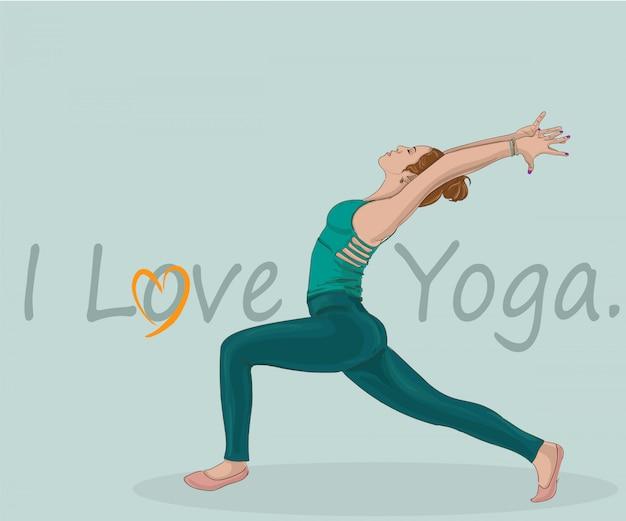 Pose praticando da ioga do guerreiro da mulher.