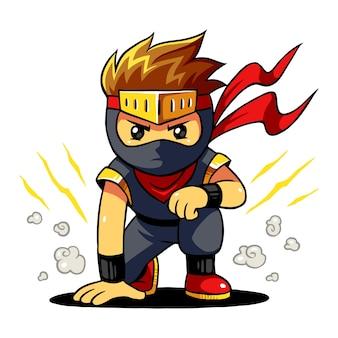 Pose pronta do menino de ninja.