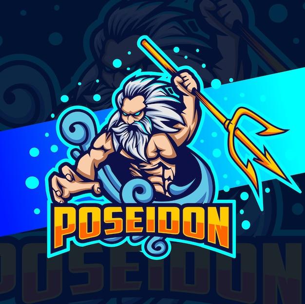 Poseidon design do logotipo do mascote do deus do mar esport