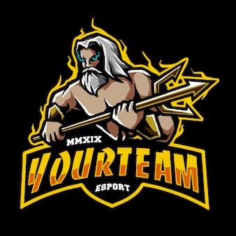 Poseidon e logotipo esportivo